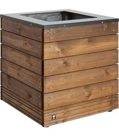 Rousham Planter (63 litres) - This cleverly designed, extra-large capacity rectangular planter is made from layered blocks of pine, taking advantage of the natural variations in the wood to create a great two-tone effect. The ideal choice for planting small evergreen trees for all-year-round colour.  Will accommodate a plant of over 2 metres in height. (H:810mm W:1000mm D:1000mm)