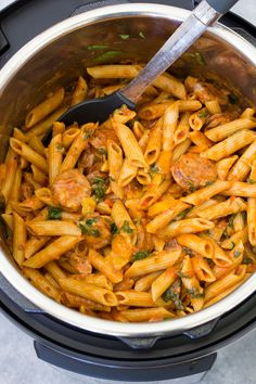 In this Instant Pot Pasta with Sausage, penne pasta, Italian sausage and healthy veggies all cook together in marinara sauce in your pressure cooker. This pasta dish is simple to make and one of our favorite easy Instant Pot recipes for busy weeknights! Penne Pasta Recipes, Sausage Pasta Recipes, Italian Sausage Recipes, Pasta Dishes, Pasta With Sausage, Instant Pot Pasta Recipe, Best Instant Pot Recipe, Instant Pot Dinner Recipes, Easy Dinner Recipes