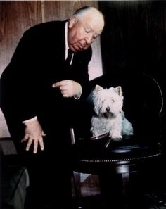 Alfred Hitchcock and his westie <3