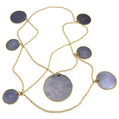 "Line Vautrin, Les Planètes, France  ca. 1945-1950  ""The Planets""  Extremely rare necklace with a bronze doré chain and ""canon de fusil"" patinated steel medallions encircled in bronze.    Medallions are 2 3/4"", 2"" and 1 1/2"" in diameter."
