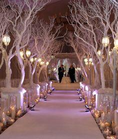 Wedding Aisle With White Trees Winter Idea