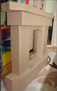 Cardboard Box Crafts, Cardboard Furniture, Cardboard Playhouse, Cardboard Toys, Playhouse Furniture, Diy Christmas Fireplace, Fake Fireplace, Christmas Gift Decorations, Christmas Fun