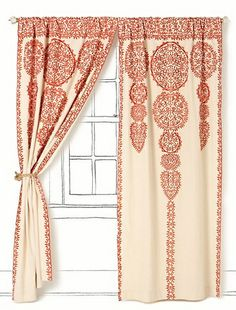 "Orange and cream Moroccan detailed curtains from Anthropologie (""Tuesday Trendspotting: Rockin' Moroccan Design"").  I love this pattern and look."