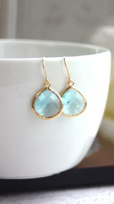 Aquamarine Blue Glass Framed Drop French Hook Earrings. Modern Everyday. Bridesmaids Gifts. Bridal Gift Set. Aqua Blue and Gold Wedding By Marolsha.