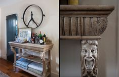 The Bar Smith's well-stocked sideboard—whose legs are topped by intricate, gargoyle-like carvings—occupies a far wall in the living room and performs as both a bar and as shelving for knickknacks and throw blankets. - Lonny