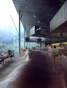 Describe this place with ONE word! Vals Hotel is designed by Jensen Skodvin Architects and located in // Photo by MIR - Architecture and Home Decor - Bedroom - Bathroom - Kitchen And Living Room Interior Design Decorating Ideas - Restaurant Design, Design Hotel, Cascade Restaurant, House Restaurant, Architecture Design, Architecture Interiors, Chinese Architecture, Modern Interiors, Beautiful Interiors
