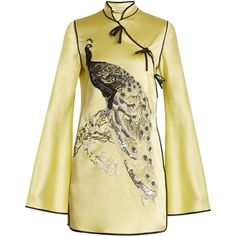 Attico Elena peacock-embroidered satin mini dress (€1.865) ❤ liked on Polyvore featuring dresses, yellow multi, beaded cocktail dress, long-sleeve mini dress, satin cocktail dress, short sleeve dress and beige cocktail dress