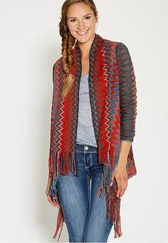 chevron striped blanket cardigan with fringe (original price, $49) available at #Maurices