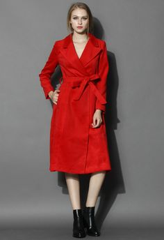 Scarlet Wool-blend Belted Coat - Outers - Retro, Indie and Unique Fashion