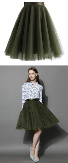 olive tulle skirt outfit