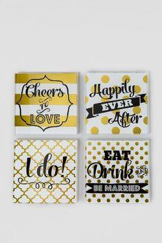 Glass Wedding Coasters Set of 4