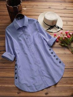 Women Casual Plaid Print Buttons Irregular Long Sleeve Plus Size Blouses Kurti Neck Designs, Blouse Designs, Chic Outfits, Fashion Outfits, Fashion Top, Ladies Fashion, Trendy Fashion, Designs For Dresses, Plus Size Blouses