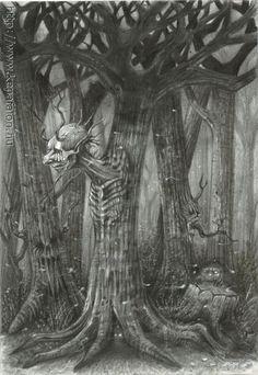 Mazán Mihály - A mesebeli sötét erdő című festménye