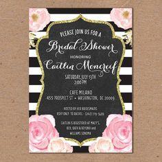 Bridal Shower Invitation Black and White Horizontal Stripes Floral Flowers Gold Glitter Vintage Printable File or Printed