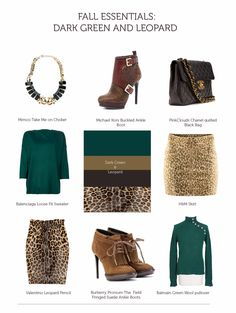 Dark green and leopard. Any combo here would be sexy for a DYT Type 3 woman.