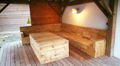 Pallet Deck Furniture Under Gazebo