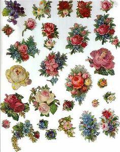 Victorian Die Cut Scraps Rose Flower Lot c1880s