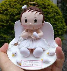 Porcelana fría - Cold porcelain - Bautizo Bebé cake topper