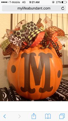 White Pumpkin From Michaels Monogram And Polka Dots Cut With Cricut