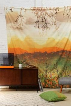 Magical Thinking Mountain Sunshine Tapestry dreamy golden tapestry wall hanging urban outfitters green gold yellow orange soft