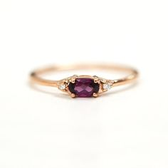 Rhodolite Garnet Diamond Ring Solid 14K Gold by agildedleaf