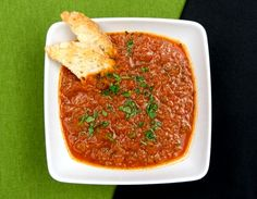 Meatless Monday: Spicy Tomato Soup. Sign-up for our weekly #meatlessmonday recipes here:  https://secure.humanesociety.org/site/SPageServer?pagename=meatlessmondaysignup&s_src=pin_post081314
