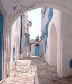 A view of a side street in the beach town of Hammamet, Tunisia.