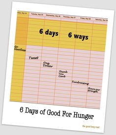 6 Days, 6 Ways - 1 simple way each day to work to end hunger. #MomsFightHunger #sixdegreesofgood #KevinBacon #NoKidHungry #shareoutstrength