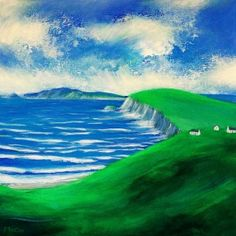 Oil Painting on canvas of the Wild Atlantic Way.  The scene is of the stunning Dingle Peninsula with the Blasket Islands in the distance. This is the most western part of Ireland.