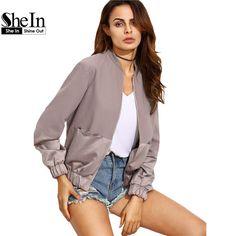Shein 여자 가을 캐주얼 재킷 숙녀 컬러 블록 포켓 지퍼 전면 스탠드 칼라 긴 소매 기본 재킷 코트 착실히 보내다