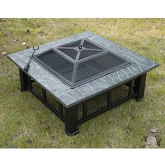 """Outsunny 32"""" Square Outdoor Fire Pit - Black"""