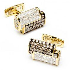 2-Tone Diamond Interlocked Cufflinks