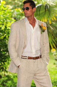 Linen Wedding Suit, Best Wedding Suits, Wedding Men, Wedding Beach, Trendy Wedding, Beach Weddings, Destination Weddings, Beach Party, Wedding Summer