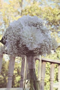 20 Swoon-Worthy Burlap Wedding Bouquets baby's breath and artificial white dahlias & roses burlap wedding bouquet Hydrangea Bouquet Wedding, Rustic Wedding Flowers, Bride Bouquets, Bridal Flowers, Gypsophila Bouquet, Lace Flowers, White Dahlias, White Roses, White Dahlia Bouquet