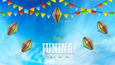 Illustration about Festa Junina poster with paper lanterns and paper garlands on blue cloudy sky background, vector illustration. Illustration of card, clouds, brazil - 147110905 Paper Lanterns, Paper Garlands, Graphic Illustration, Vector Illustrations, Vector Free, The Creator, Clouds, Sky, Creative