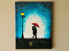Couple kissing in the rain wall art,couple with red umbrella painting,couple silhouette painting,Kiss art,Birthday Gift for her 14x18 inches