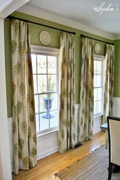 LOVE this pattern for the living-room window swag :) Considering something like this for the DR, but set rods wider so as not to cover the gorgeous molding I have. Dining Room Drapes, Green Dining Room, Dining Room Windows, Bay Windows, Curtains Living, Dining Rooms, Window Seat Curtains, Green Curtains, Neutral Curtains