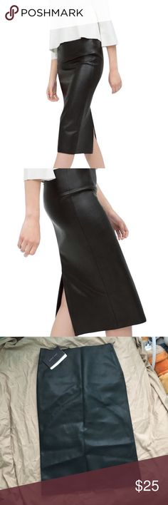 NWT BRAND NEW ZARA FAUX LEATHER PENCIL SKIRT Bought this skirt from Zara ages ago and was never bold enough to wear it out 🤷🏼♀️ it's cute and perfect for the upcoming spring weather! I'm 5'4 and it comes a bit below my knees but hugs my body perfectly. It's an XS but if you fit in a 3-5size jeans like me this will fit perfect! Zara Skirts Pencil
