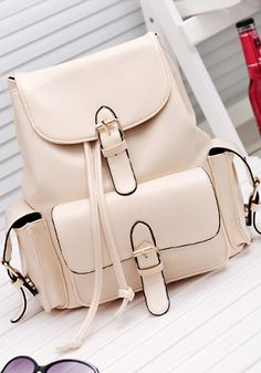 Foldover Buckled Backpack -  Beige - Cute Foldover Flap Bag