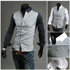 Free shipping In the fall of 2013 new fine Houndstooth hit color simple atmospheric leisure shirt $11.98