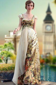 Fashion Beads V-neck Floral Printed Long Banquest Party Dress Evening Dress Formal Dress,<3!