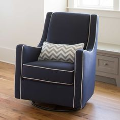 Navy And Gray Modern Glider With White Zig Zag Pillow Carousel Designs Slick Lines A Comfortable Tall Cushion Back Combine To Make