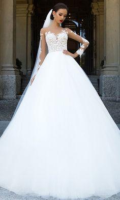 187.00  Amazing Tulle   Satin Bateau Neckline A-Line Wedding Dresses With  Beaded Lace Appliques - ailsabridal.com 855c2c5a8b2f