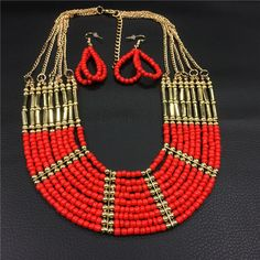 Fashion African Beads Jewelry Set Necklace Set Earrings for Women Multi Layer Red Gold Bohemian Jewelry Set to Party Duftgold * AliExpress Affiliate's buyable pin. Find similar products on www.aliexpress.com by clicking the image