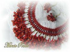Márcia Prado ♥ Arte com Amor ♥: Colar e Brincos Franjas de Coral (Semi-Jóia)