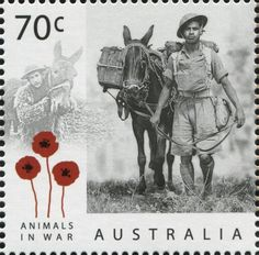 In the lead-up to Remembrance Day, this stamp issue commemorates the valour and sacrifice made by countless animals during Australia's involvement in war. Poppy Badges, Anzac Day, War Dogs, Remembrance Day, Mail Art, Stamp Collecting, World War I, Postage Stamps, Science Nature