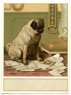 Vintage Image - Cute Dog with Mail - Label - The Graphics Fairy