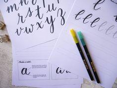 "Dans les coulisses de mon cours ""Apprendre le brush lettering en ligne"" - Calligraphique - Le Studio Lettering, Bullet Journal, Modern Calligraphy, Flashcard, Fishing Line, Drawing Letters, Brush Lettering"
