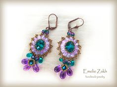 Beading tutorial earrings Crystal earrings pattern earrings purple emerald earrings beading tutorial  earrings instruction long earrings by emeliebeads. Explore more products on http://emeliebeads.etsy.com