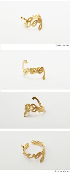 """""""love you"""" script ring, wishlist! Jewelry Box, Jewelry Rings, Jewelery, Women Accessories, Jewelry Accessories, Queen, Diamond Are A Girls Best Friend, Love Fashion, Gold Rings"""